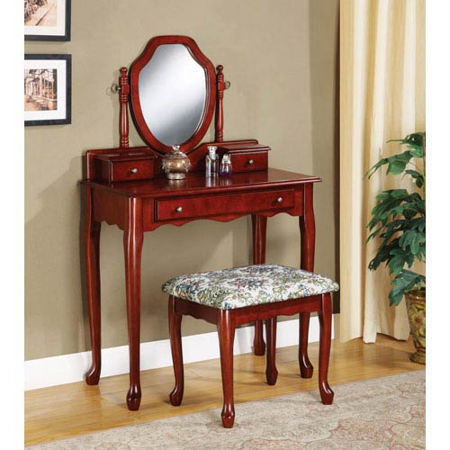 Traditional Vanity and Stool with Tapestry Fabric Seat