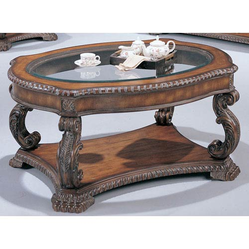 Coaster Furniture Doyle Traditional Oval Cocktail Table with Glass Inlay Top