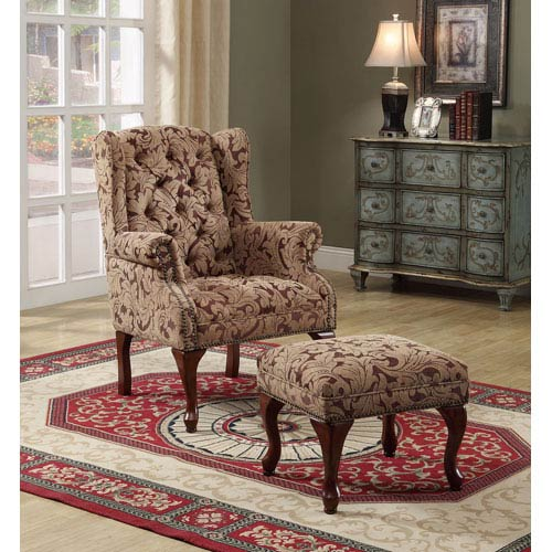 Tan Traditional Tufted Wing Back Chair and Ottoman