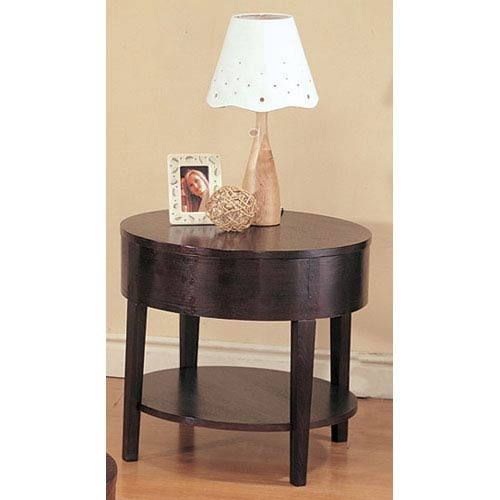 Gough Round End Table with Shelf