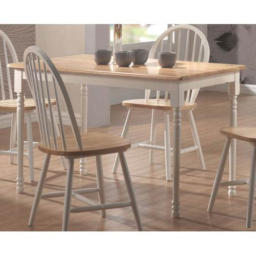 Coaster Furniture Damen White And Natural Wood Rectangle Leg Dining Table 4147ii Bellacor