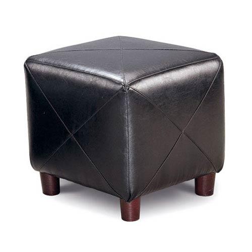 Coaster Furniture Black Contemporary Faux Leather Cube Ottoman