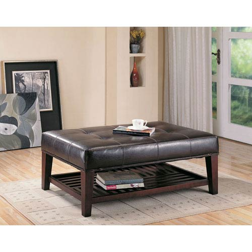 Coaster Furniture Contemporary Faux Leather Tufted Ottoman with Storage Shelf