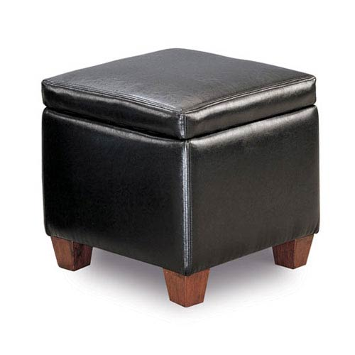 Coaster Furniture Black Casual Faux Leather Storage Cube Ottoman
