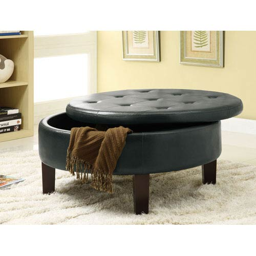 Black Round Upholstered Storage Ottoman with Tufted Top