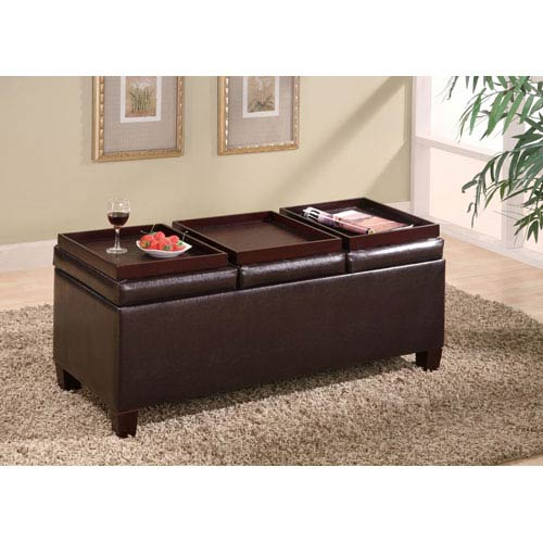 Brown Contemporary Faux Leather Storage Ottoman with Reversible Trays