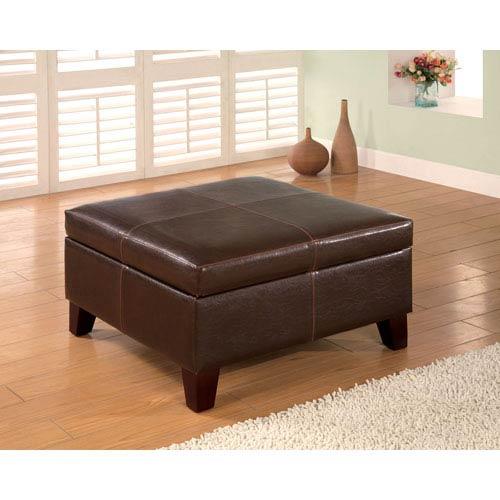 Coaster Furniture Dark Brown Contemporary Square Faux Leather Storage Ottoman