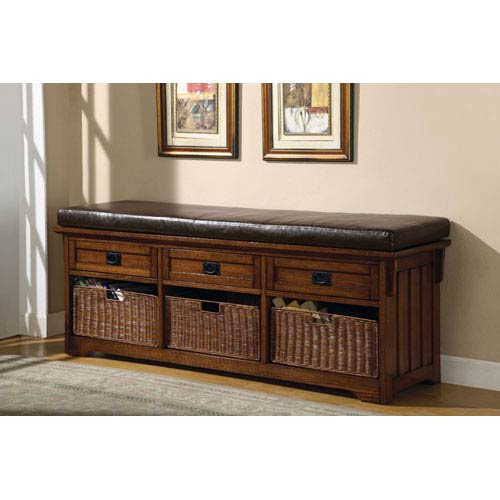 Oak Large Storage Bench with Baskets