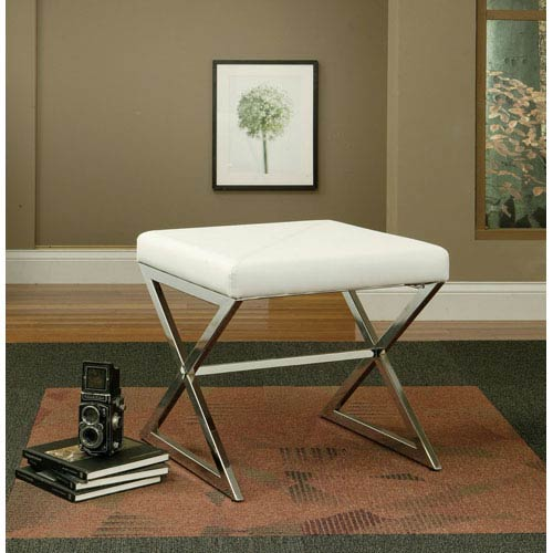 White Contemporary Faux Leather Ottoman with Metal Base