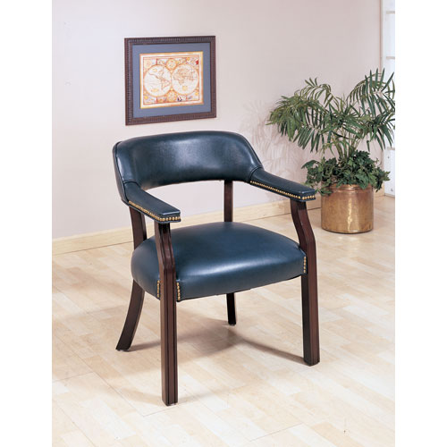 Blue Traditional Upholstered Vinyl Side Chair with Nailhead Trim