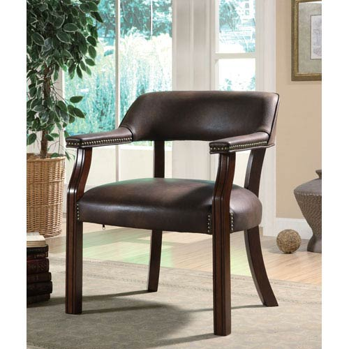 Brown Traditional Vinyl Office Side Chair with Nailhead Trim