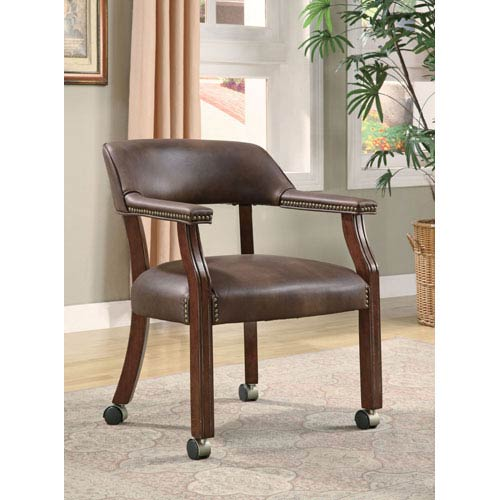 Coaster Furniture Brown Traditional Vinyl Office Side Chair with Nailhead Trim and Casters