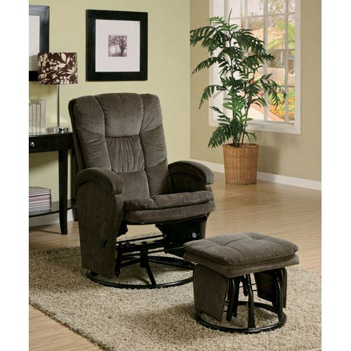Coaster Furniture Chocolate Casual Reclining Glider with Matching Ottoman