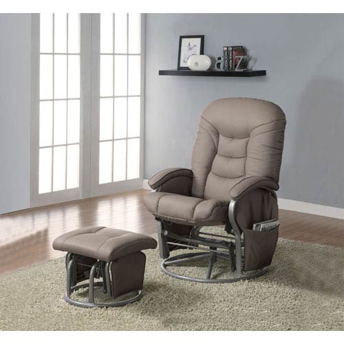 Coaster Furniture Beige Casual Leatherette Glider Recliner with Matching Ottoman