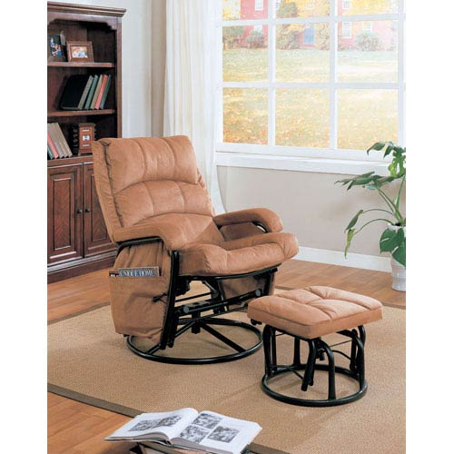 Brown Glider Recliner with Matching Ottoman