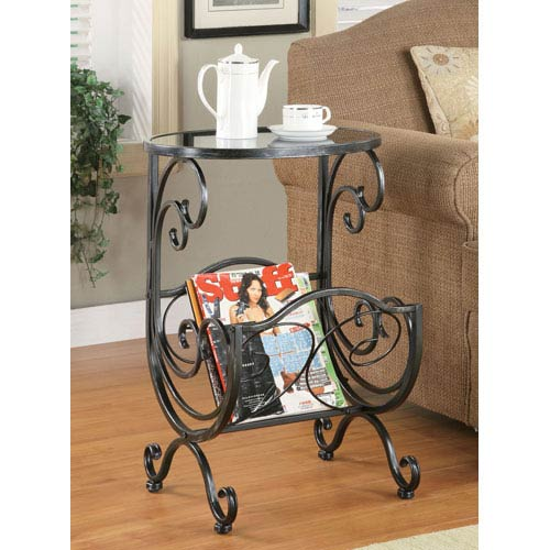 Coaster Furniture Metal and Glass Side Table with Scroll Magazine Rack