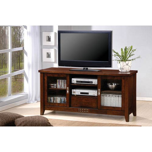 Walnut Transitional Media Console with Doors and Shelves