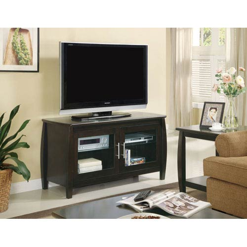 Coaster Furniture Cappuccino Contemporary Media Console with Glass Doors