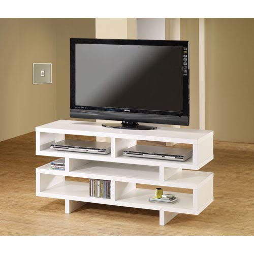 White Contemporary TV Console with Open Storage