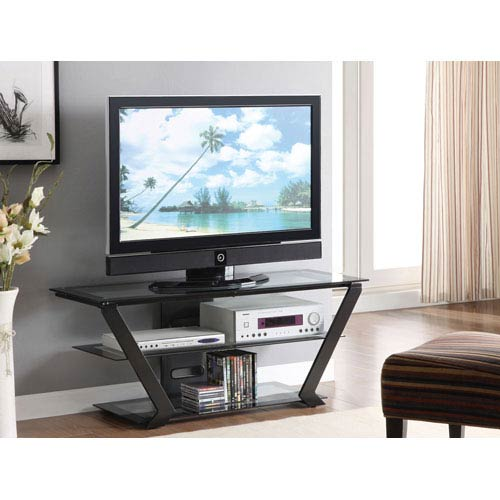 Black Finish TV Stand with Tempered Glass