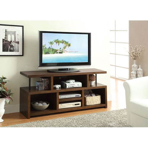 Brown Casual TV Console with Open Storage