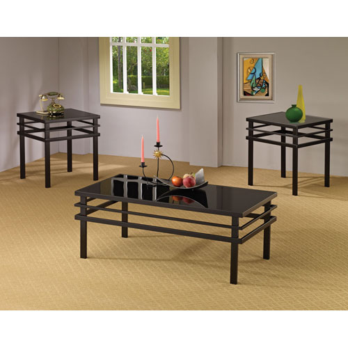 Black 3-piece Occasional Table Set with Glass Top