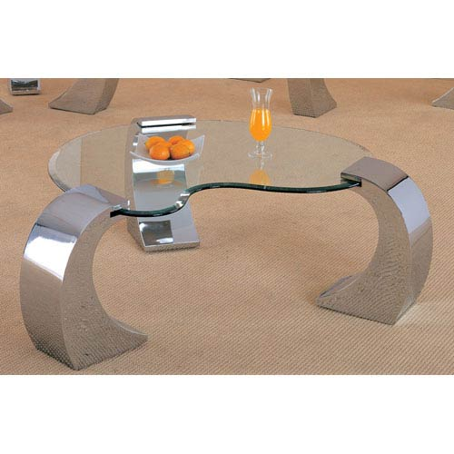 Coaster Furniture Custer Contemporary Cocktail Table with Metal Base and Kidney Glass Top