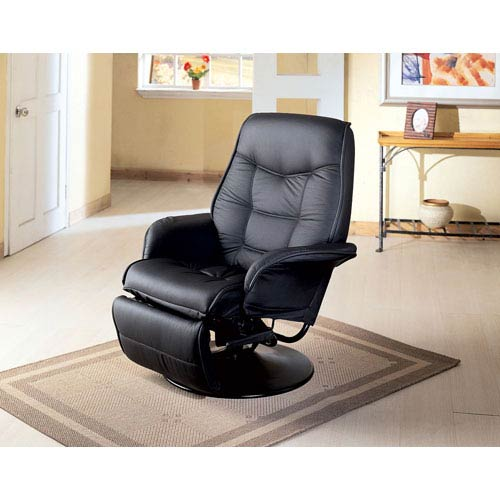 Berri Black Swivel Recliner with Flared Arms