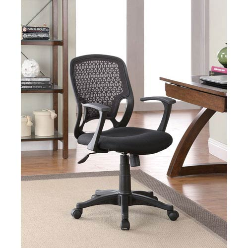 Coaster Furniture Black Contemporary Mesh Office Chair with Adjustable Seat Height