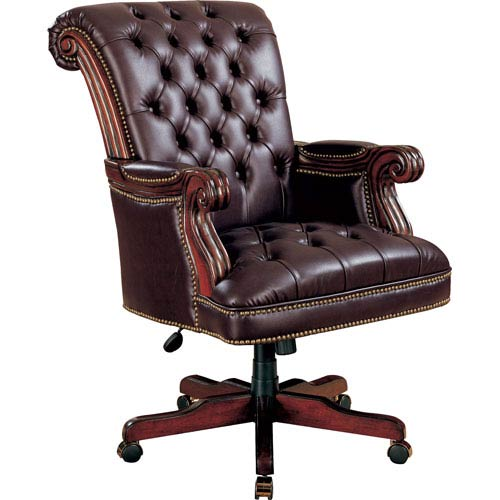 Burgundy Traditional Leather Executive Chair