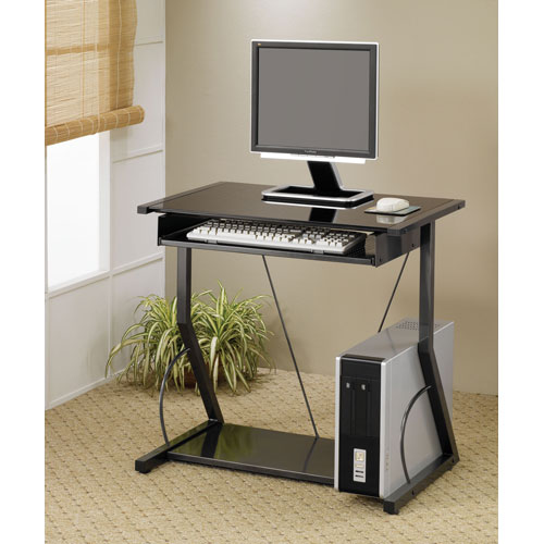 Black Contemporary Computer Desk with Keyboard Tray