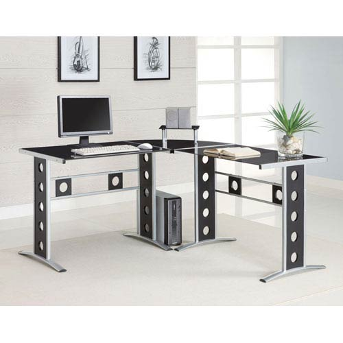 Black and Silver Modern L Shape Desk