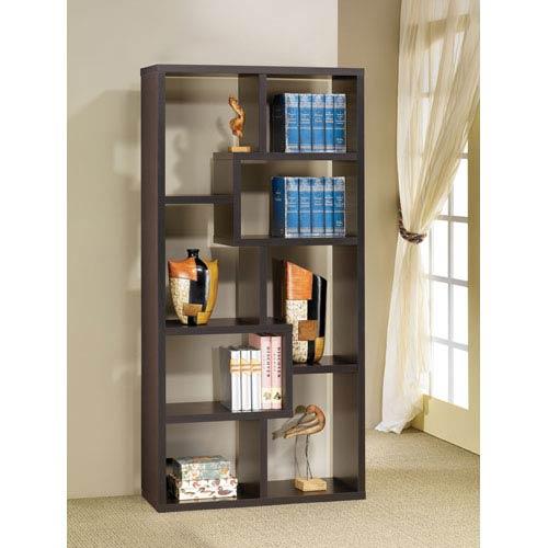 Coaster Furniture Cappuccino Contemporary Asymmetrical Cube Bookcase