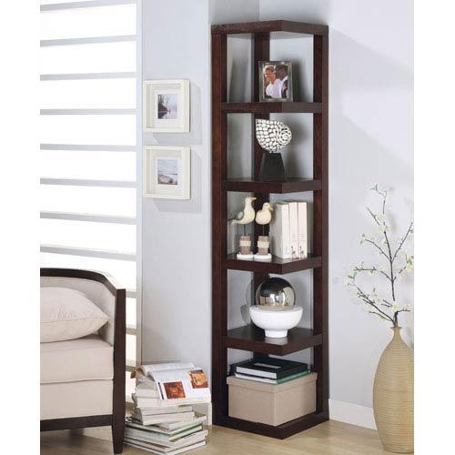Cappuccino Contemporary Corner Bookcase