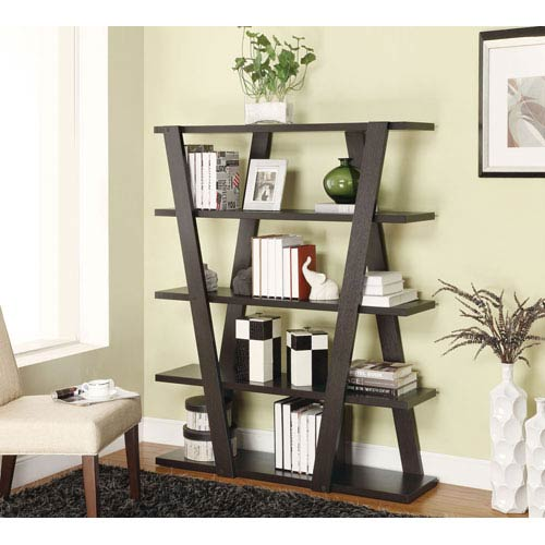 Coaster Furniture Cappuccino Modern Bookshelf with Inverted Supports and Open Shelves
