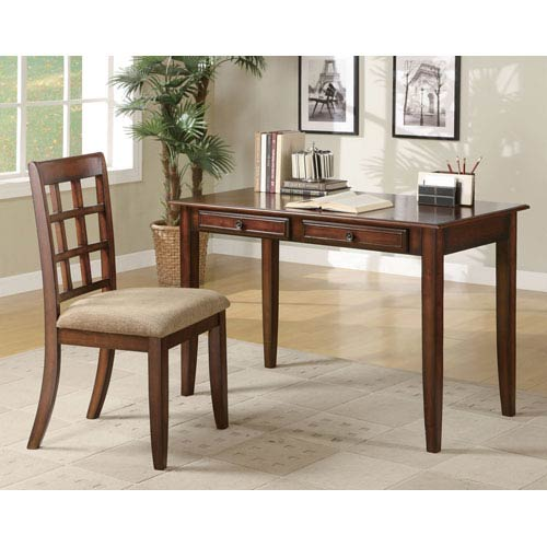 Cherry Wood Table Desk with Two Drawers and Desk Chair