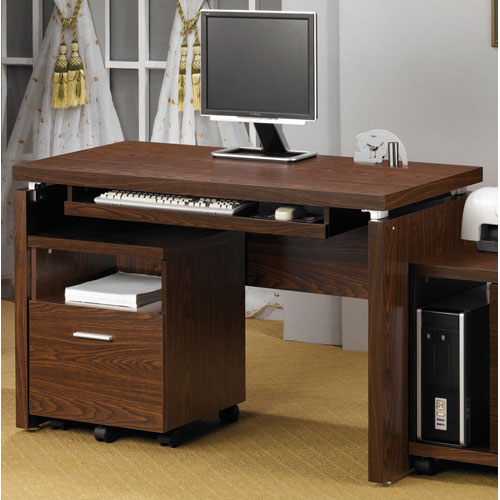 Peel Brown Computer Desk with Keyboard Tray