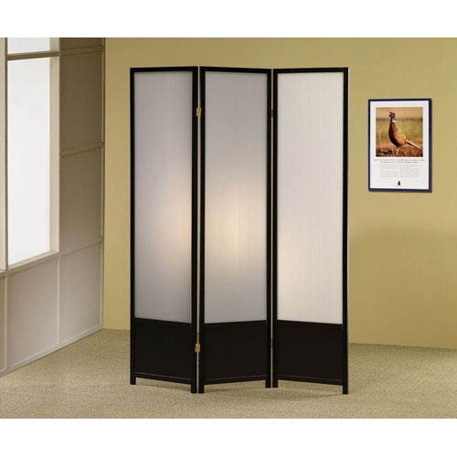 Coaster Furniture Black Finish Folding Screen with Translucent Inserts