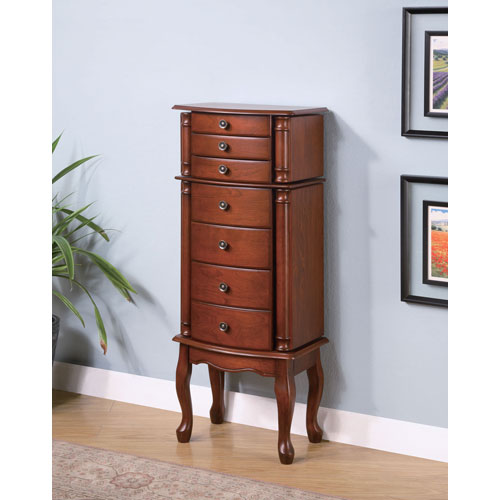 Coaster Furniture Warm Brown Jewelry Armoire with Antiqued Hardware