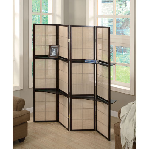 Tan and Cappuccino Four-Panel Screen with 4-Shelf