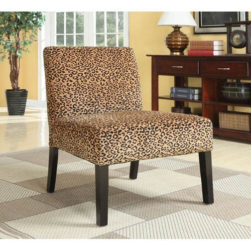 Coaster Furniture Leopard Print Accent Chair with Wood Legs