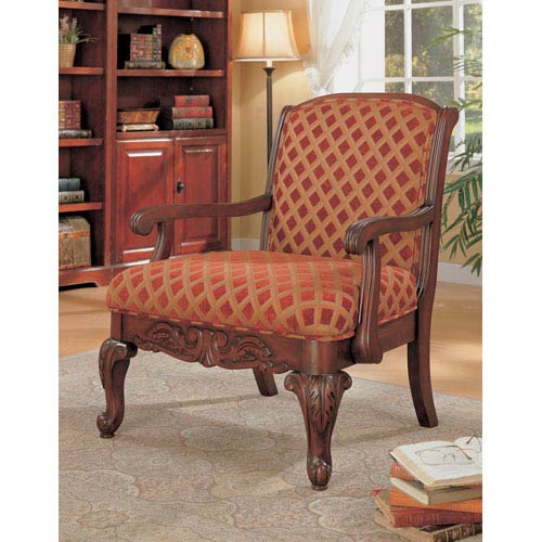 Red Upholstered Chair with Wood Armrests