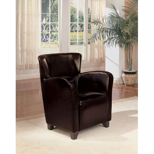 Coaster Furniture Brown Vinyl Upholstered High Back Chair