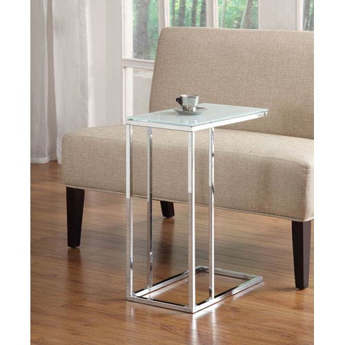 Coaster Furniture Chrome and Frosted Glass Top Snack Table