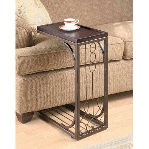 Coaster Furniture Small Brown Snack Table with Burnished Cooper Base