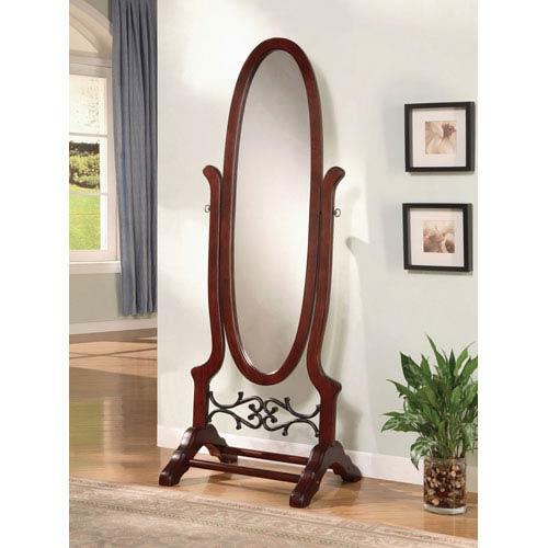 Walnut Cheval Oval Mirror