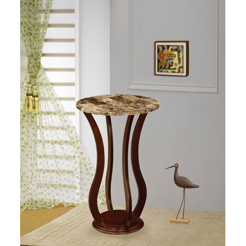 Coaster Furniture Cherry Round Marble Top Plant Stand