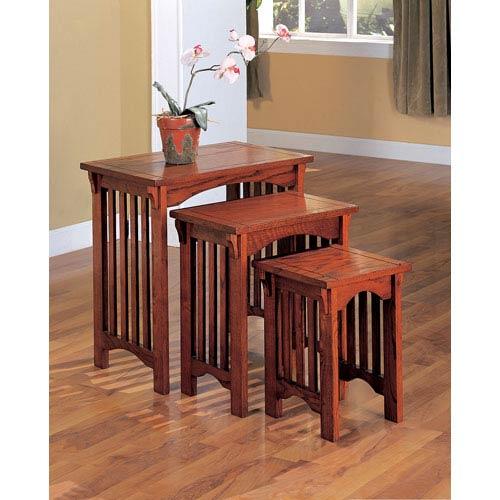 Coaster Furniture Oak Three Piece Nesting Table Set