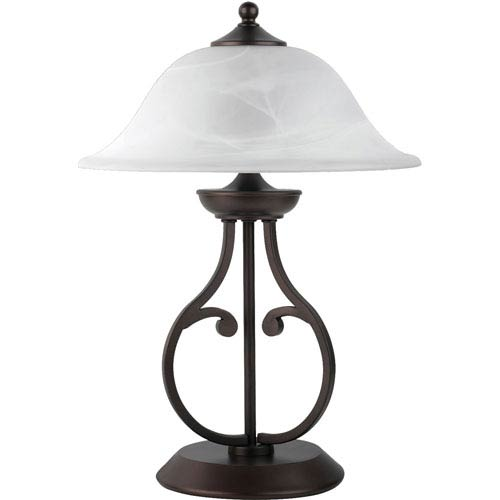 Coaster Furniture Dark Bronze Table Lamp with Glass Shade