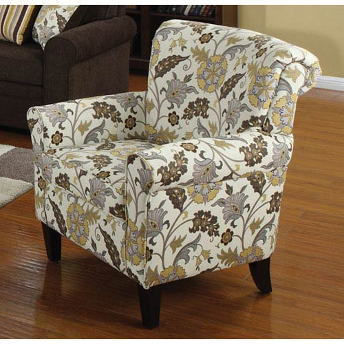 Coaster Furniture Floral Smooth and Simple Retro Styled Accent Chair with Decorative Rolled Arms